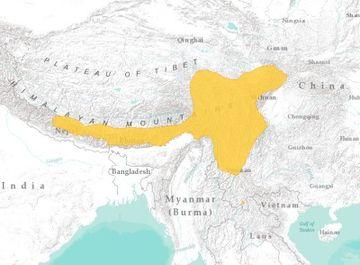 mapa výskytu pandy červené