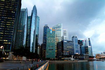 Finanční centrum Singapuru s jeho mrakodrapy