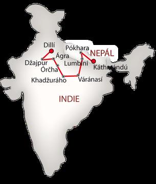 Indie a Nepál bílá_mapa