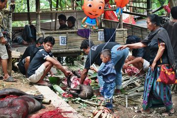 Porcování zvířecí oběti na pohřbu