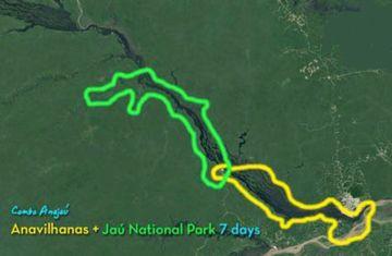 Mapa, Rio Negro a Jauaperi River