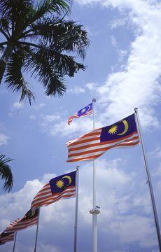 Malajské vlajky na Merdeka Square v Kuala Lumpur