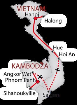 Vietnam a Kambodža 2018 bílá_mapa