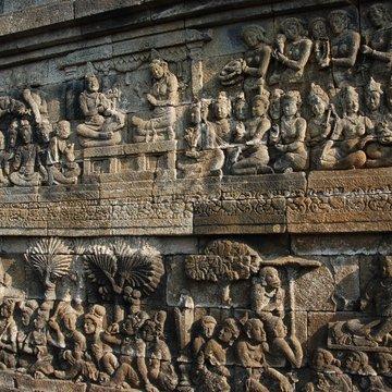 Zdobné reliéfy, chrám Borobudur