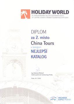 Diplom China Tours za 2. místo nejlepší katalog 2015